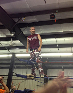 Spike Dudley - Hyson, as Spike Dudley posing on the turnbuckle at a Squared Circle Wrestling (2CW) live event in Watertown, New York on January 13, 2014