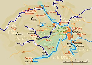 Andernach - Map of regions in the vicinity of Andernach