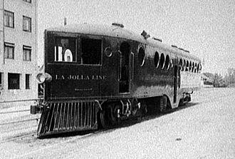 "McKeen railmotor - A McKeen car belonging to the Los Angeles and San Diego Beach Railway, the ""La Jolla Line""."