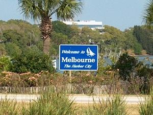 Melbourne, Florida - A visitor welcome sign for Melbourne.