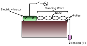 Melde's experiment - A model of Melde's experiment: an electric vibrator connected to a cable drives a pulley that suspends a mass that causes tension in the cable.