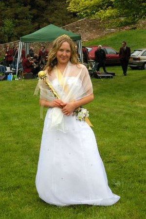 May Day - May Queen on village green, Melmerby, England