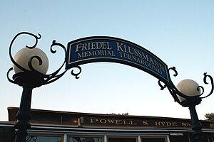 Friedel Klussmann - The Friedel Klussmann Memorial Turnaround is the cable car terminus on Hyde Street near Fisherman's Wharf
