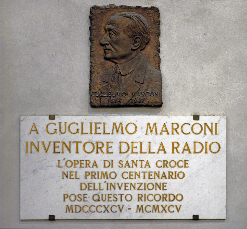 Memorial plaque in honor of Guglielmo Marconi in the Basilica Santa Croce, Florence. Italy