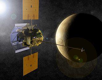 Robotic spacecraft - An artist's interpretation of the MESSENGER spacecraft at Mercury