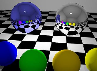 Reflection (computer graphics) - The large sphere on the left is blue with its reflection marked as metallic. The large sphere on the right is the same color but does not have the metallic property selected.