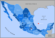 A map of the United Mexican States (Mexico), showing its thirty one constituent states and the Federal District.