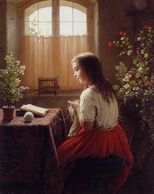 Meyer von Bremen Strickendes lesendes Mädchen 1863