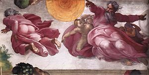 The Creation of the Sun, Moon and Vegetation - Image: Michelangelo, Creation of the Sun, Moon, and Plants 01