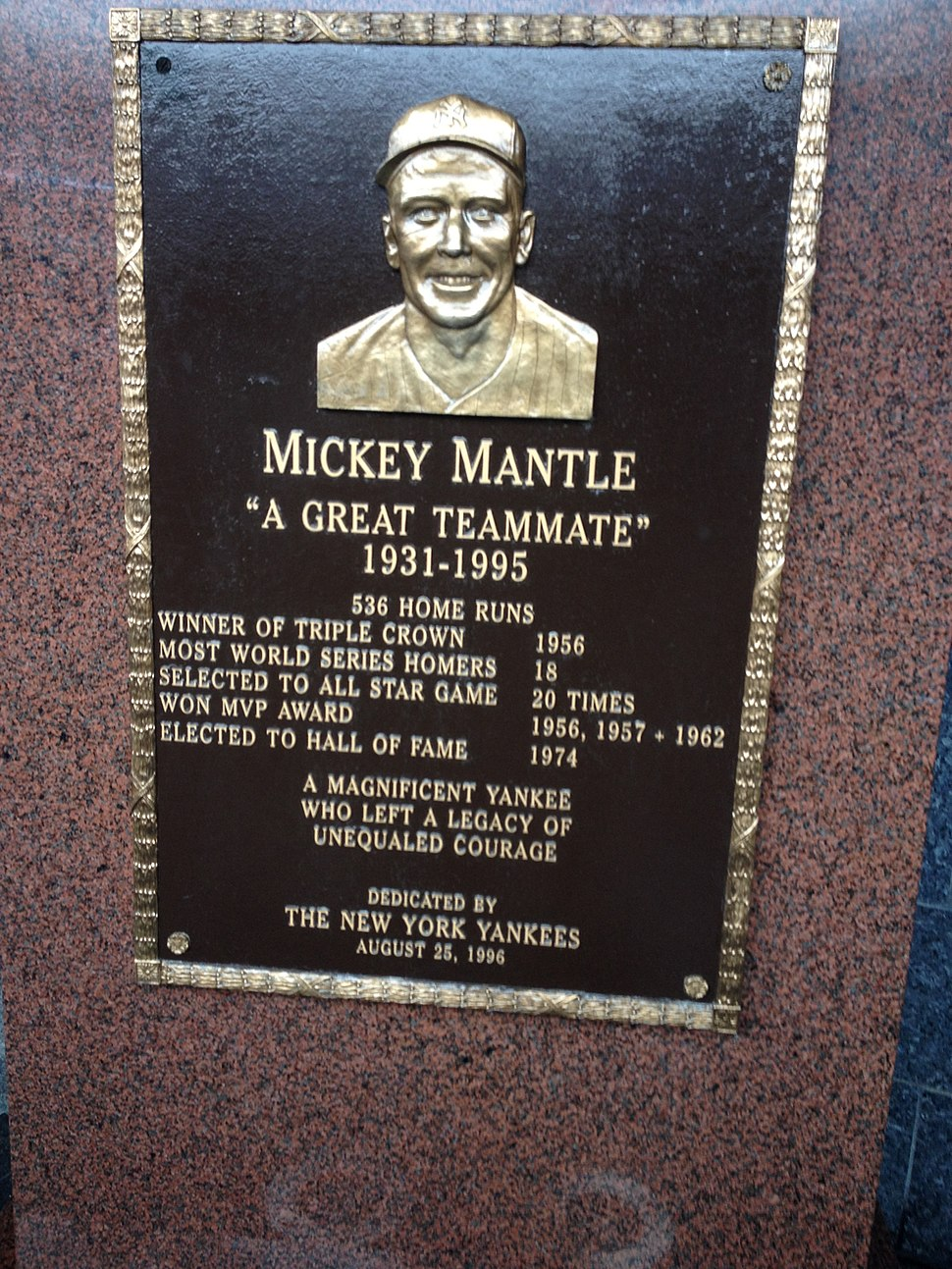 Mickey Mantle's plaque in Yankee Stadium's Monument Park