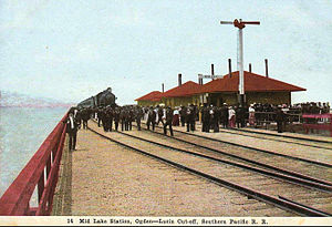 Lucin Cutoff - The line included a rail station called Mid Lake, which was in the middle of Great Salt Lake.
