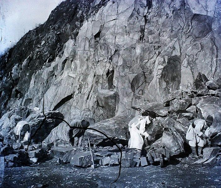 File:Mining, stone mine, wheelbarrow Fortepan 96242.jpg