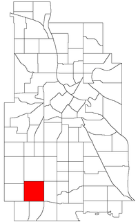 Location of Lynnhurst within the U.S. city of Minneapolis