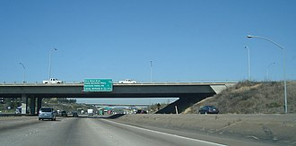 Interstate 805 - The Miramar Road overpass on I-805 northbound, with the Eastgate Mall bridge in the background