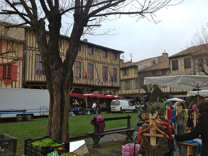 Mirepoix, Ariège - A Monday market day in the central square.