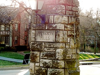 Mission Hills, Kansas - City Sign at corner of 56th Street and State Line Road