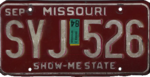 Missouri license plate, 1980–1996 series with 1984 sticker.png