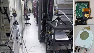 Victor Bahl - Programmatically maneuverable mm-wave wireless links provide additional network bandwidth to server racks at crunch time. Picture shows a 60 GHz radio frequency module and an experimental set up used to showcase this idea in a data center (October 2009).