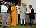 Mohd. Hamid Ansari presenting the 1st National Photo Award 2010 for Life Time Achievement to Smt. Homai Vyarawalla, at the Golden Jubilee Celebration of Photo Division.jpg