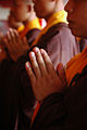 Monks pray before Vessak Day 2010 in Magelang, Central Java, Indonesia.jpg