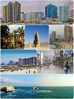 Montage of Antofagasta, Top:View of downtown Antofagasta, 2nd left:Antofagasta Clock Tower in Armas Square, 2nd middle:Mano del Desierto Sand Sculpture in Atacama Desert, 2nd right:View of Coldelco area, 3rd left:Balneario Beach, 3rd right:Arturo shopping center area, Bottom:View of La Portada Natural Monument