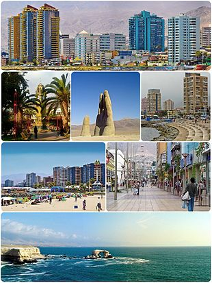 """Montage of Antofagasta, Top:View of downtown Antofagasta, 2nd left:Antofagasta Clock Tower in Colón Square, 2nd middle:""""Mano del Desierto"""" (Hand of the Desert) Sand Sculpture in Atacama Desert, 2nd right:View of Coldelco towers, 3rd left:Balneario Beach, 3rd right:Arturo Prat shopping center area, Bottom:View of La Portada Natural Monument"""