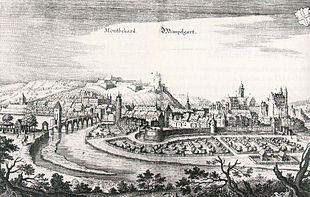 La città di Montbéliard verso il 1600