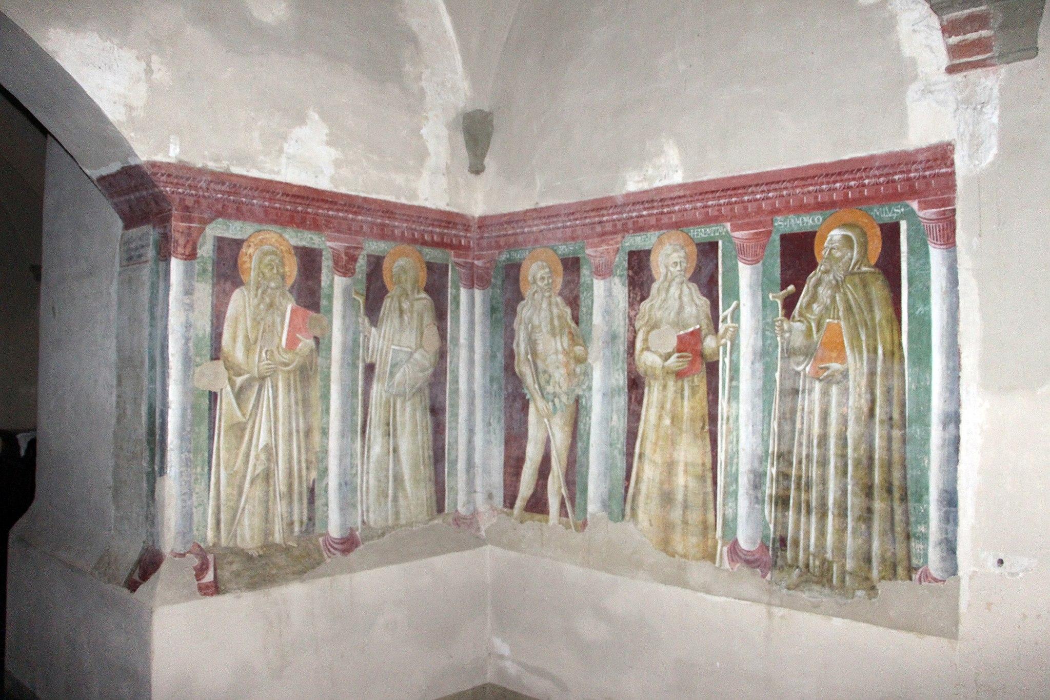 Abbazia di Monte Oliveto Maggiore ,passaggio tra chiostro e chiesa, ignoto senese, Padri eremiti, 1440 (attr. Giovanni di Paolo)