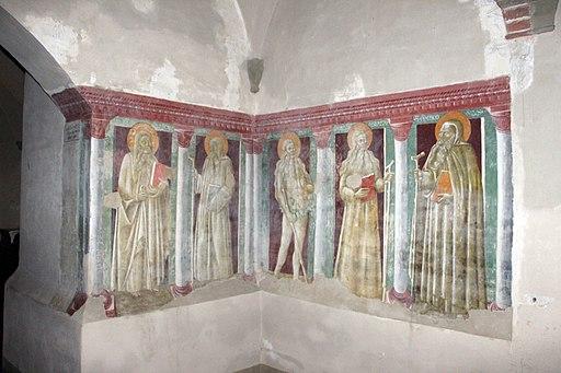 Passaggio tra chiostro e chiesa, ignoto senese, Padri eremiti, 1440 (attr. Giovanni di Paolo)