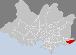 Location of Carrasco in Montevideo