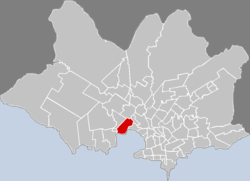 Location of La Teja in Montevideo