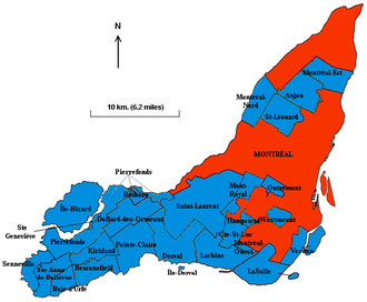 2002–06 municipal reorganization of Montreal - Island of Montreal before the 2002 merger: City of Montreal (186 km2/72 sq. miles) and 27 independent municipalities