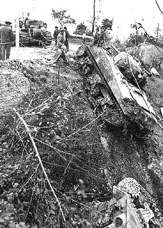 Moro River Campaign - Canadian Sherman driven off the road by German mortar fire, 10 December 1943