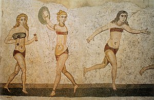 "Clothing in ancient Rome - 4th century mosaic from Villa del Casale, Sicily, showing ""bikini girls"" in an athletic contest"