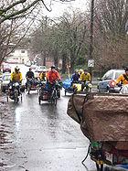 Cyclists move by bike in Portland, Oregon
