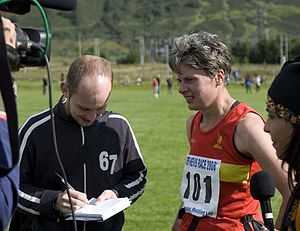 Angela Mudge - Angela Mudge participating in post-race interviews following her victory in the 2008 Ben Nevis Race.