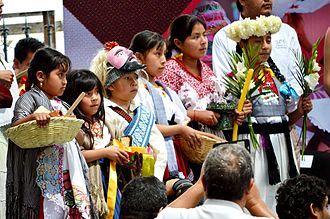 Purépecha - Purépecha children at the  2015 Muestra de Indumentaria Tradicional de Ceremonias y Danzas de Michoacán
