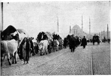 "The loss of almost all Ottoman territories during the late 19th and early 20th centuries, and the establishment of the Republic of Turkey, in 1923, produced waves of Turkish refugees, who were known as ""Muhacirs"", who fled from hostile regions of the Balkans, the Black Sea, the Aegean islands, the island of Cyprus, the Sanjak of Alexandretta, the Middle East, and the Soviet Union to migrate to Anatolia and Eastern Thrace. Muhajir.jpg"
