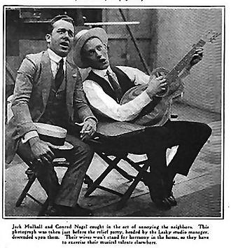 Jack Mulhall - Jack Mulhall (left) singing offstage with Conrad Nagel (c. 1920)