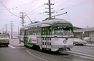 K Ingleside - A PCC Streetcar on K Ingleside in 1967