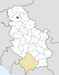 Location of the municipality of Temerin within Serbia