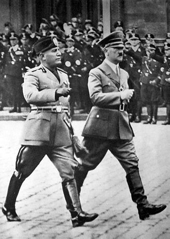 Mussolini with Adolf Hitler in Berlin, 1937