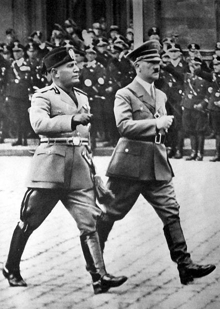 Mussolini with Adolf Hitler in Berlin, 1937 Mussolini a Hitler - Berlin 1937.jpg