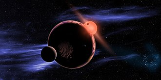 Red dwarf - An artist's impression of a planet with two exomoons orbiting in the habitable zone of a red dwarf.