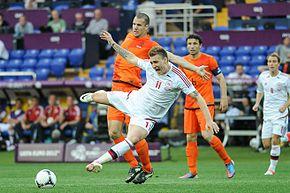Bendtner con la Nazionale danese a Euro 2012