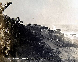 South African Class C2 4-6-4T - NGR Class H 4-6-4T no. 39 arriving at Port Shepstone with the afternoon train from Durban, c. 1905