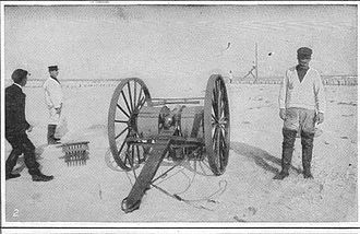 Firearm (tool) - Lyle gun after firing with the projectile in the air