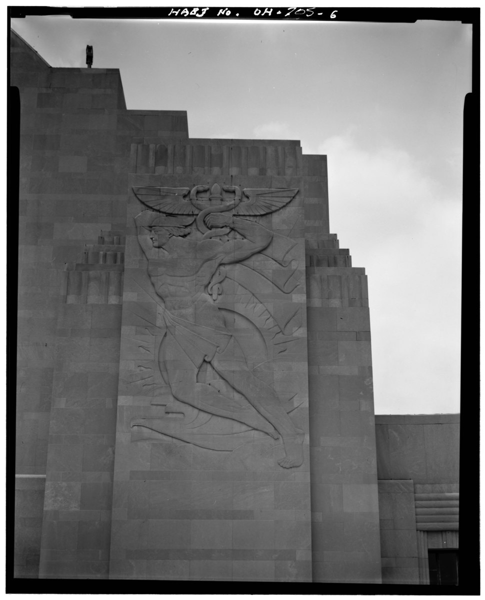 NORTH BAS-RELIEF ON FRONT, LOOKING WEST - Cincinnati Union Terminal, 1301 Western Avenue, Cincinnati, Hamilton County, OH HABS OHIO,31-CINT,29-6