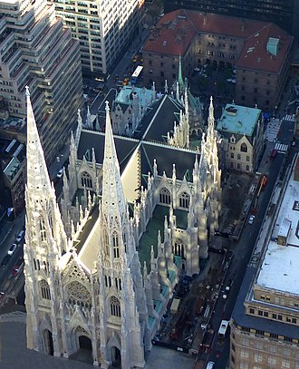 St. Patrick's Cathedral (Manhattan) - View from Rockefeller Center (2016)