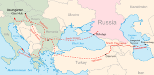 South Stream - Map of the planned Nabucco and South Stream pipelines.